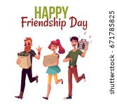 happy friendship day greeting... | Shutterstock .eps vector #671785825