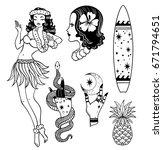 tropical exotic sea vector set. ... | Shutterstock .eps vector #671794651