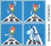 cartoon traffic light and zebra.... | Shutterstock .eps vector #671803621