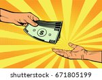 male hand gives money to... | Shutterstock .eps vector #671805199