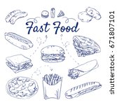 doodle set of fast food  ... | Shutterstock .eps vector #671807101
