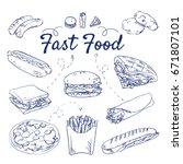 Doodle Set Of Fast Food  ...