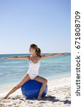 woman on the beach doing... | Shutterstock . vector #671808709