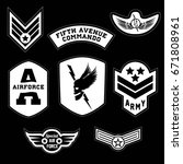 set of military and army grade... | Shutterstock .eps vector #671808961