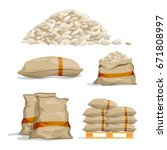 different sacks of white rice.... | Shutterstock .eps vector #671808997