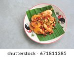 shrimp fried with pepper salt... | Shutterstock . vector #671811385