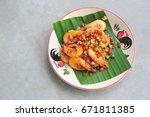 shrimp fried with pepper salt... | Shutterstock . vector #671811385