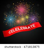 celebrations with fireworks  | Shutterstock .eps vector #671813875