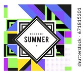 trendy vector summer cards... | Shutterstock .eps vector #671815201