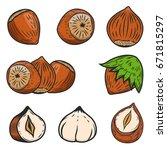 set of hazelnuts icons isolated ... | Shutterstock .eps vector #671815297