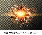 light effect  bright explosion... | Shutterstock .eps vector #671815831
