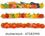 three vegetable design borders. ... | Shutterstock .eps vector #67181944