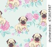 bulldog pattern  vector ...   Shutterstock .eps vector #671819587