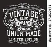 denim vintage typography  tee... | Shutterstock .eps vector #671820691