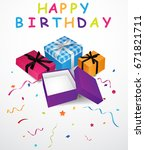 birthday background with gift... | Shutterstock . vector #671821711