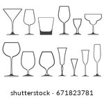 set of empty wineglasses and... | Shutterstock . vector #671823781