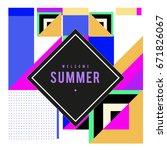 trendy vector summer cards... | Shutterstock .eps vector #671826067