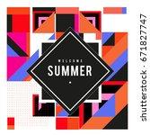 trendy vector summer cards... | Shutterstock .eps vector #671827747