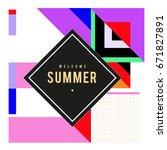 trendy vector summer cards... | Shutterstock .eps vector #671827891