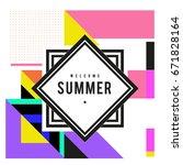 trendy vector summer cards... | Shutterstock .eps vector #671828164
