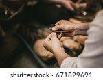 senior artist handcraft working ... | Shutterstock . vector #671829691
