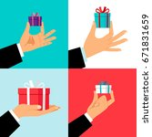 hand holding small gift box set.... | Shutterstock .eps vector #671831659