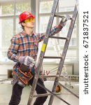 the builder is on the ladder.... | Shutterstock . vector #671837521