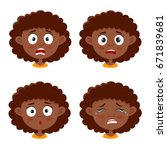little african girl with curls... | Shutterstock .eps vector #671839681