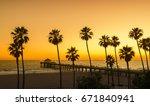 manhattan beach pier at sunset  ... | Shutterstock . vector #671840941