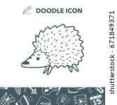 hedgehog doodle | Shutterstock .eps vector #671849371