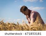 agronomist on barley  cereal...   Shutterstock . vector #671853181
