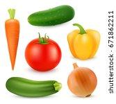 realistic vegetables. tomato ... | Shutterstock .eps vector #671862211