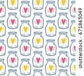 love bottle jar with pink... | Shutterstock .eps vector #671865049
