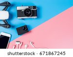 hi tech travel gadget and... | Shutterstock . vector #671867245
