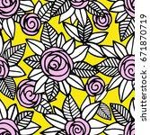 floral vector pattern. seamless ... | Shutterstock .eps vector #671870719
