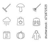 autumn season linear icons set. ...   Shutterstock .eps vector #671872525