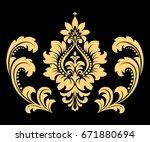 golden pattern on a black... | Shutterstock . vector #671880694
