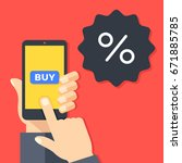 sale  discount concepts. hand... | Shutterstock .eps vector #671885785