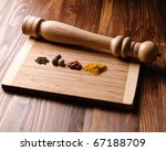 colorful spices with pepper mill - stock photo