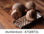 nutmeg and grater - stock photo