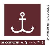 anchor icon flat. white...