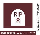 grave rip icon flat. white...   Shutterstock .eps vector #671902447