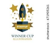 start up winner logo and... | Shutterstock .eps vector #671905261