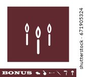 candle icon flat. white... | Shutterstock .eps vector #671905324