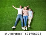 top view of parents and... | Shutterstock . vector #671906335
