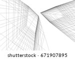 abstract architecture 3d | Shutterstock .eps vector #671907895