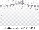 silver party flags with... | Shutterstock .eps vector #671915311