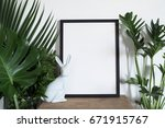 decoration green leaf plant... | Shutterstock . vector #671915767