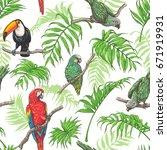 hand drawn seamless pattern... | Shutterstock .eps vector #671919931
