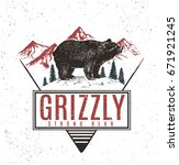 old retro logo with bear grizzly | Shutterstock .eps vector #671921245